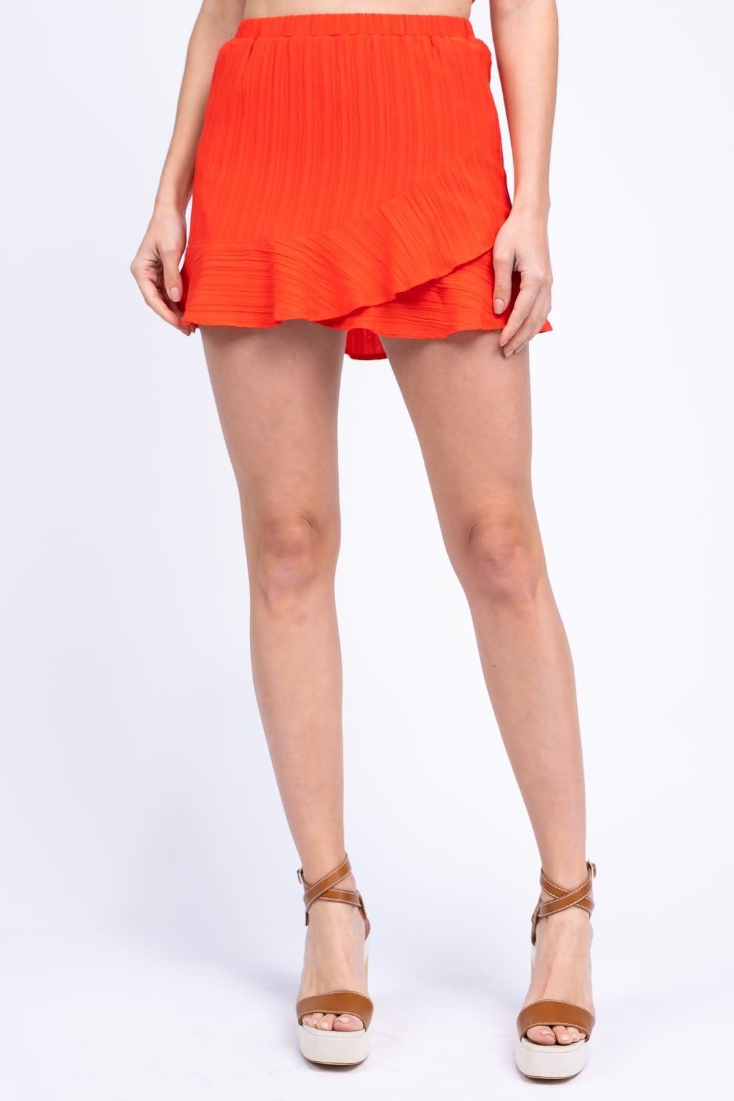 Ruffle Sleeve Front Tie Crop Top & Ruffle Skirt Set