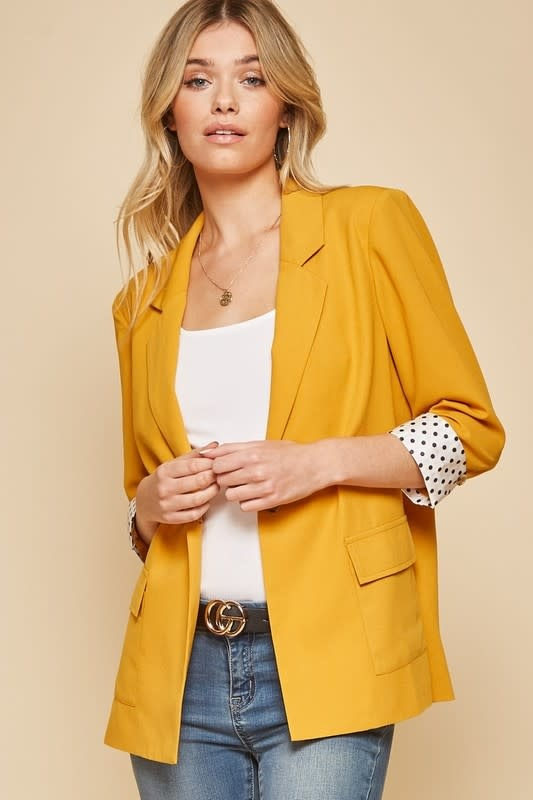 Woven Blazer w/ Front Pockets & Polka Dot Contrasted Sleeves & Lining