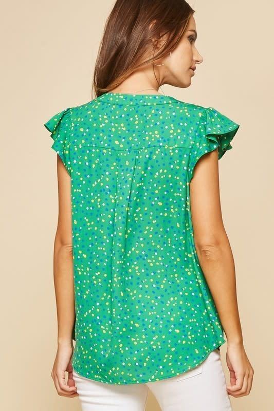 PLUS Polka Dot Print Flutter Sleeve Top
