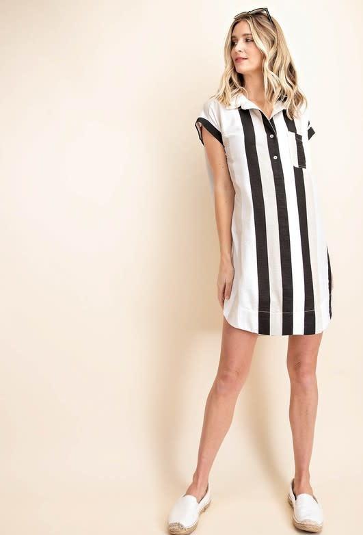 Strip Shirt Collar Tunic Dress