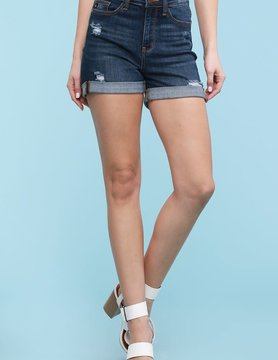 "PLUS 3"" Inseam Cuffed High Rise Shorts"