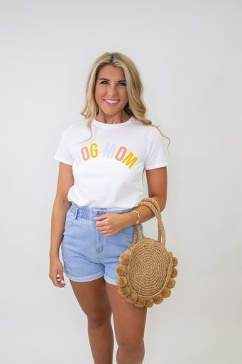 """""""DOG MOM"""" SS Graphic Top"""