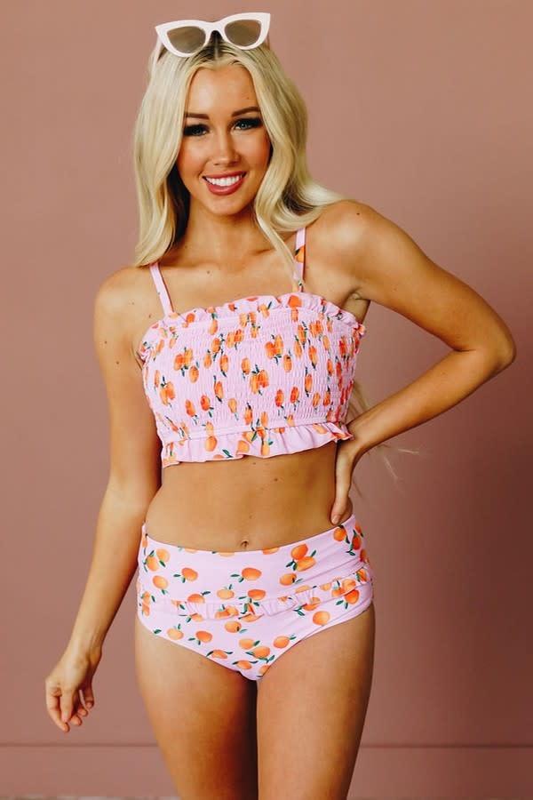 Just Peachy Smocked Bikini Set