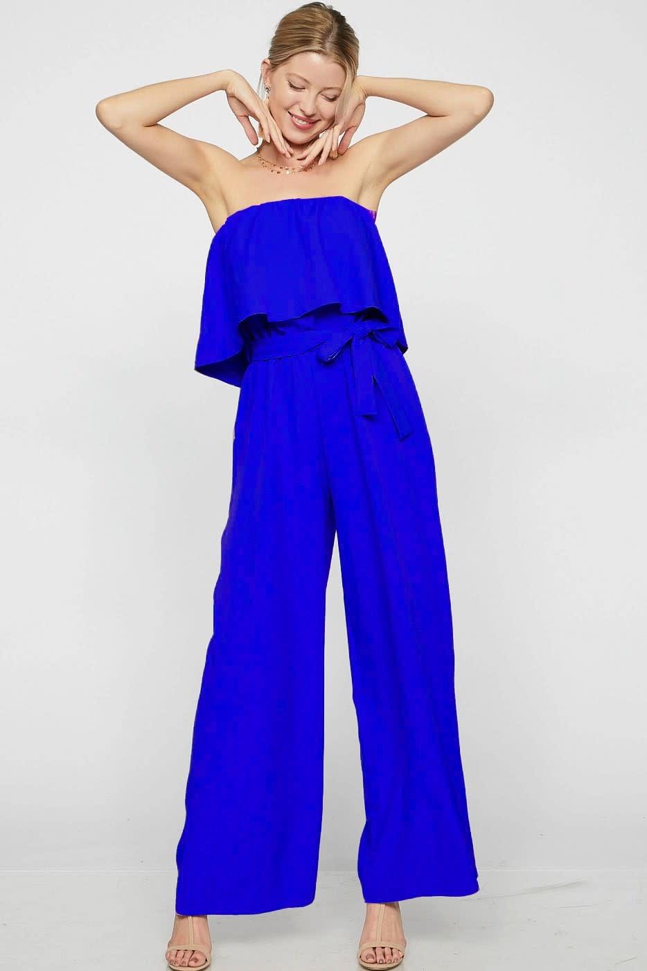 Crepe Woven Tube Top Jumpsuit w/ Tie Waist