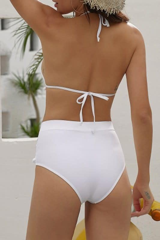 Tassel & Mesh Bikini Set in White
