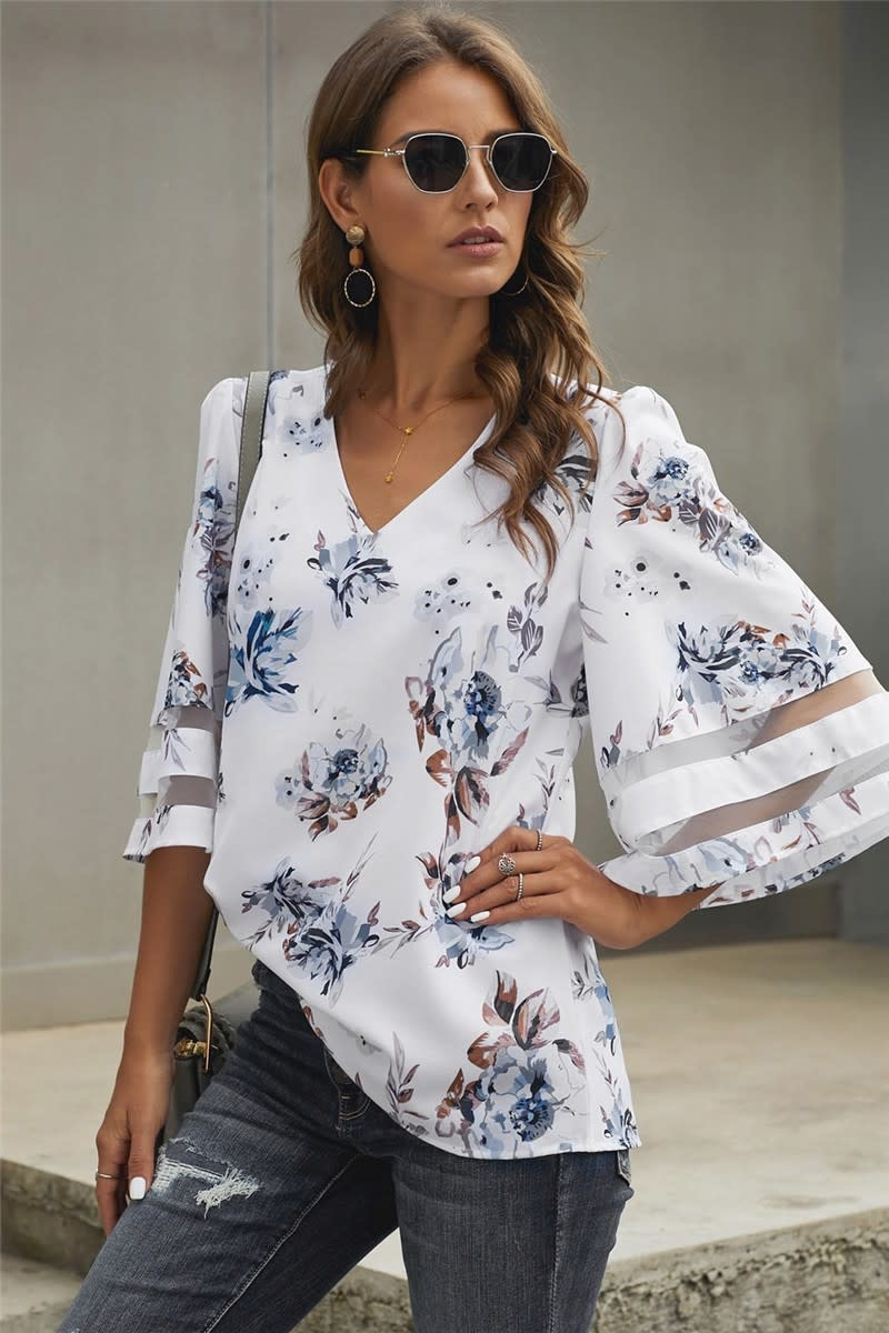 3/4 Flared Sleeve Floral Blouse in White