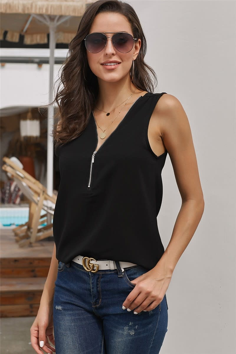 Zip Neckline Sleeveless Shirt Tank