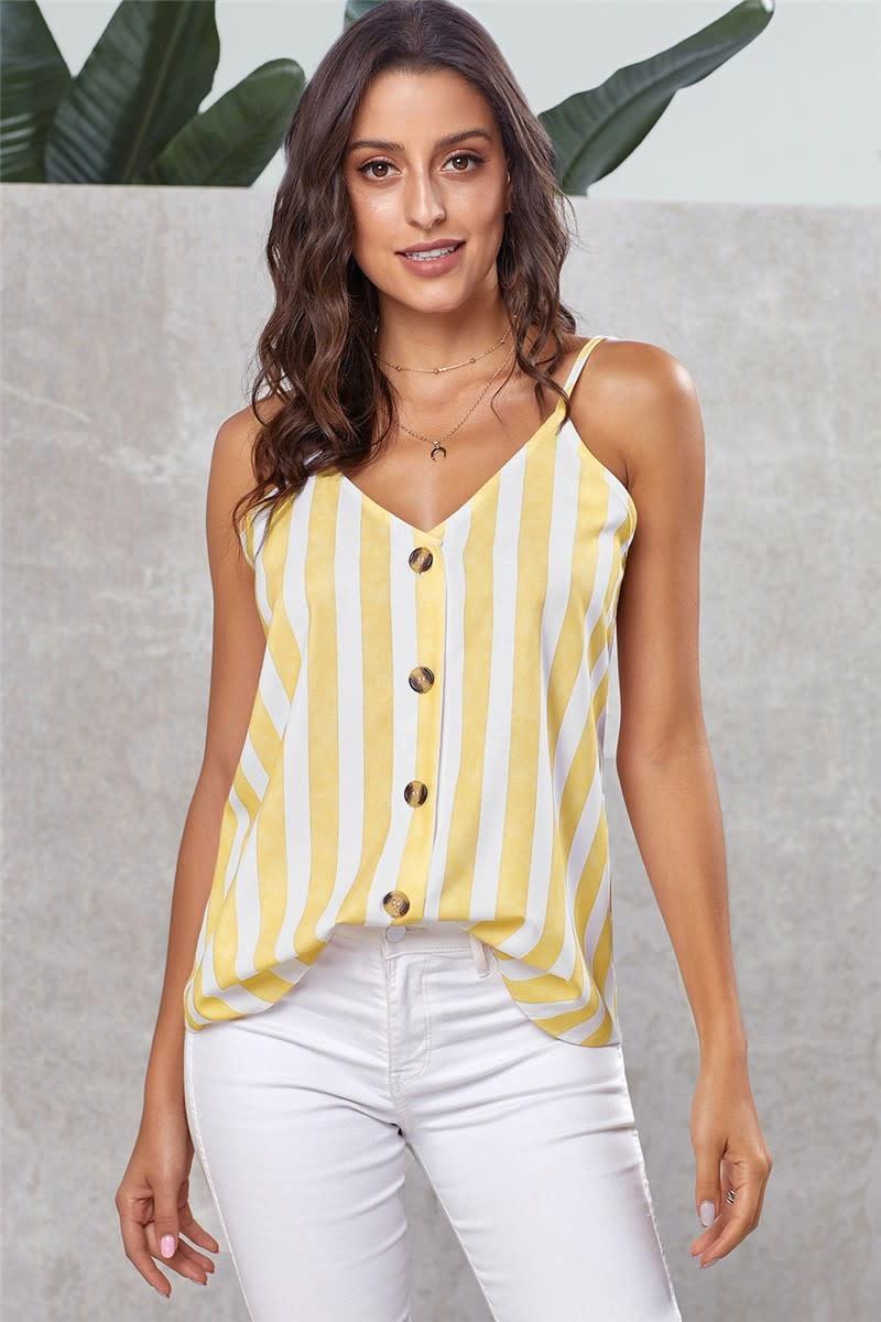 Button Up V Neck Strappy Cami Top