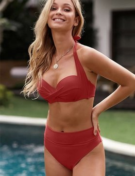 Shirring Bra Halter Neck High Waist Bikini in Red