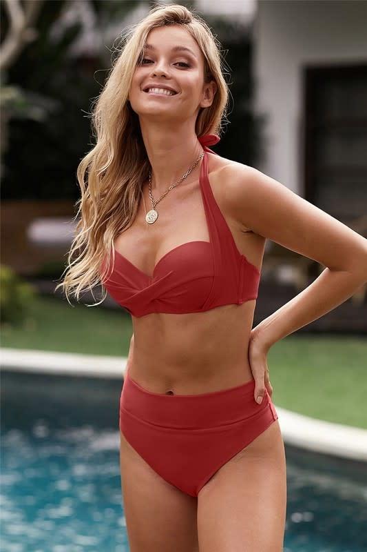 Shirring Bra Halter Neck High Waist Bikini in Red