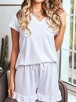 Super Soft T-Shirt Ruffle Shorts Lounge Set in White