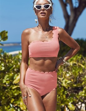 High Waist Scalloped Trim One Shoulder Bikini in Pink