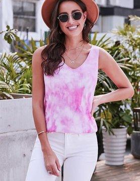 Pink Washed Effect Tie Dye Tank