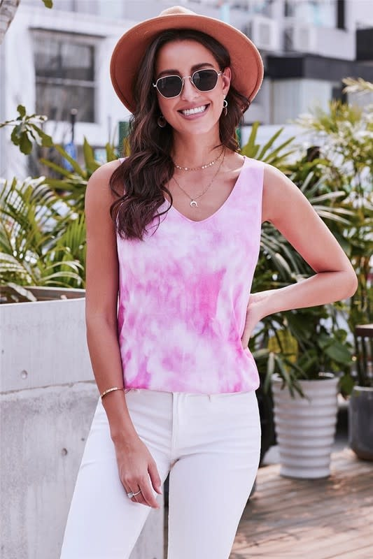 Pink Washed Effect Tie Dye Tank