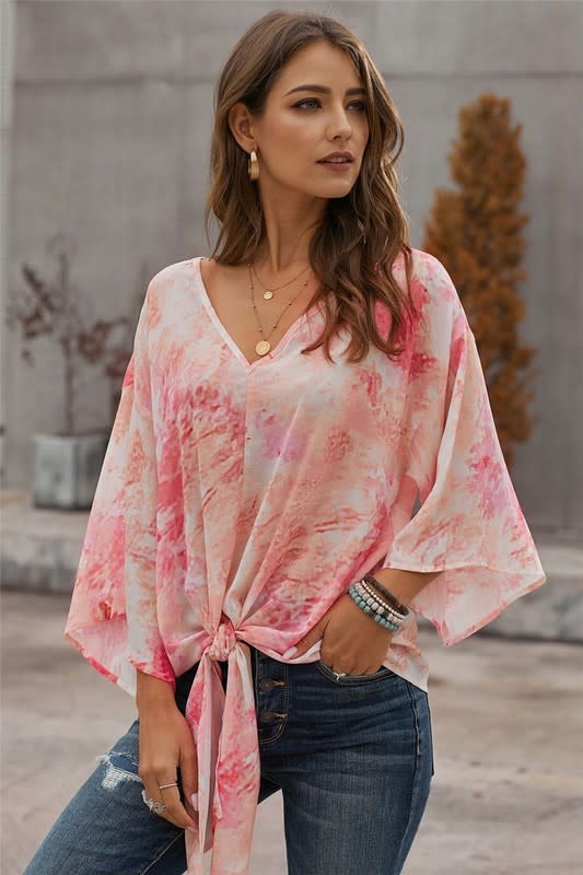 Tie Dye V Neck Summer Blouse