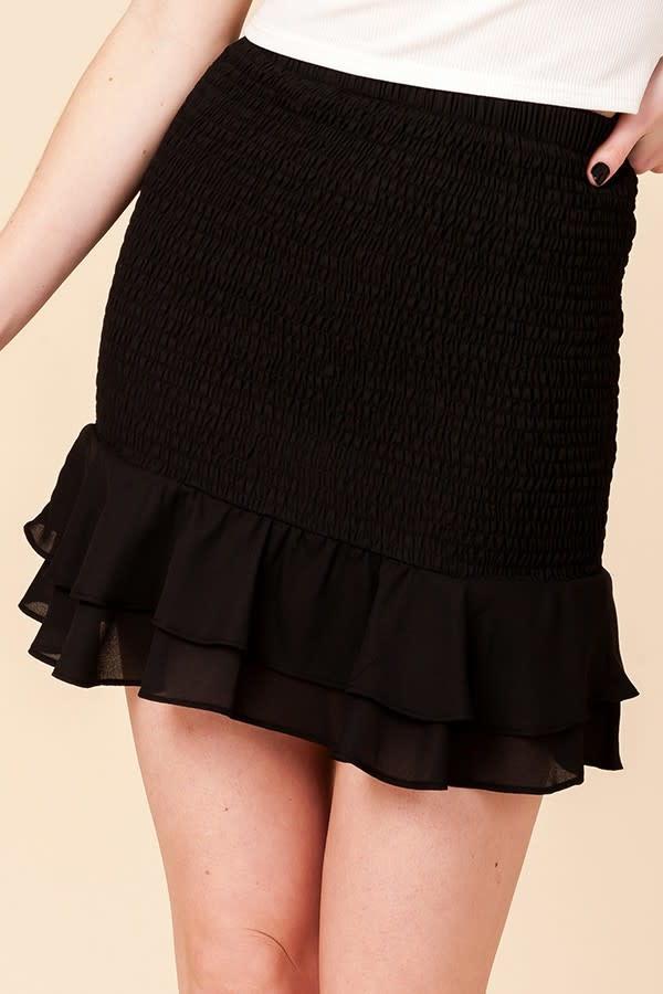 Make Me Smile Smocked Skirt - Black