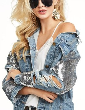 Distressed Denim Jacket w/ Buttoned Front & Sequins Cuff Edge