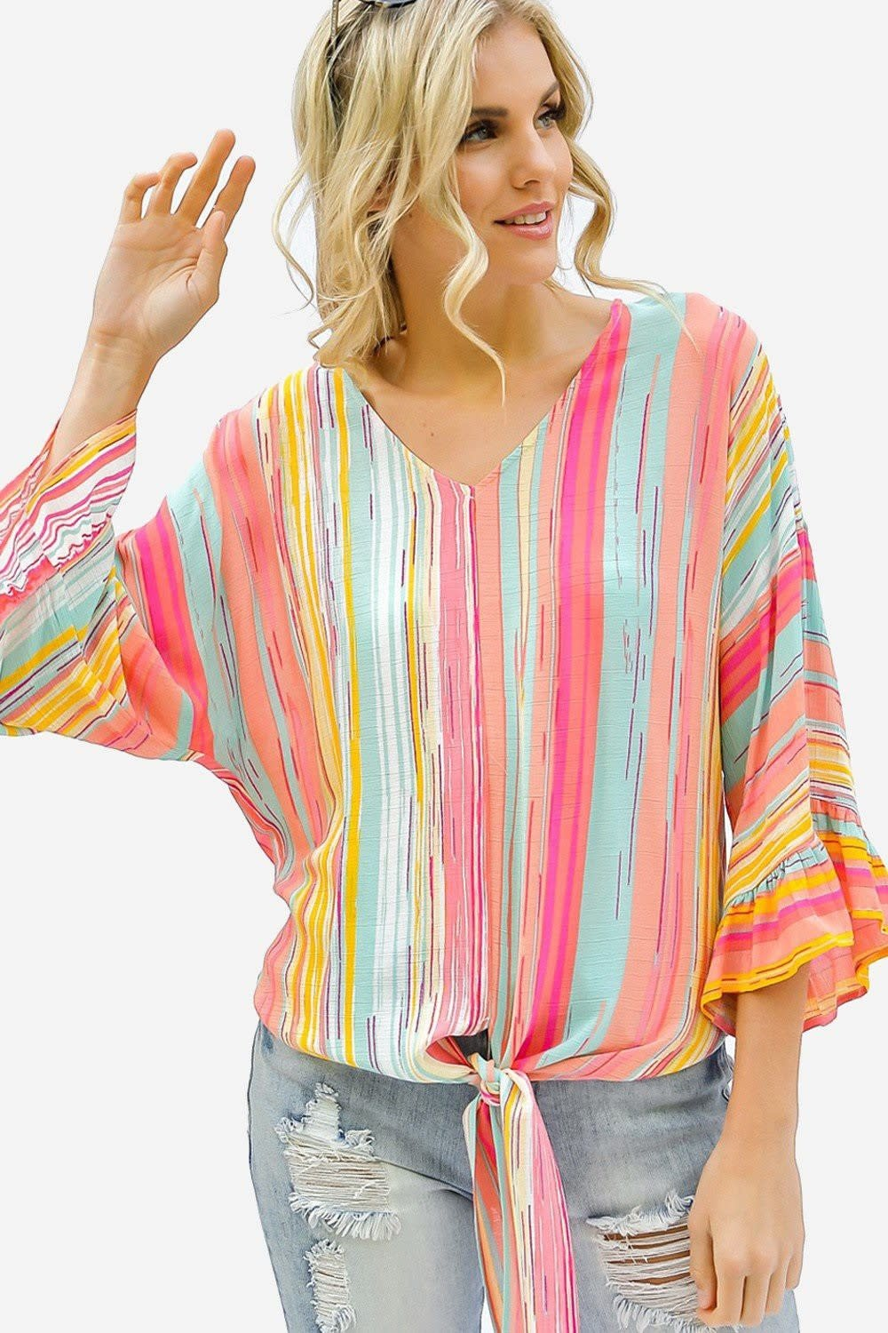 Rainbow Striped Tie Front Ruffle Hem Flared Blouse in Coral Pink