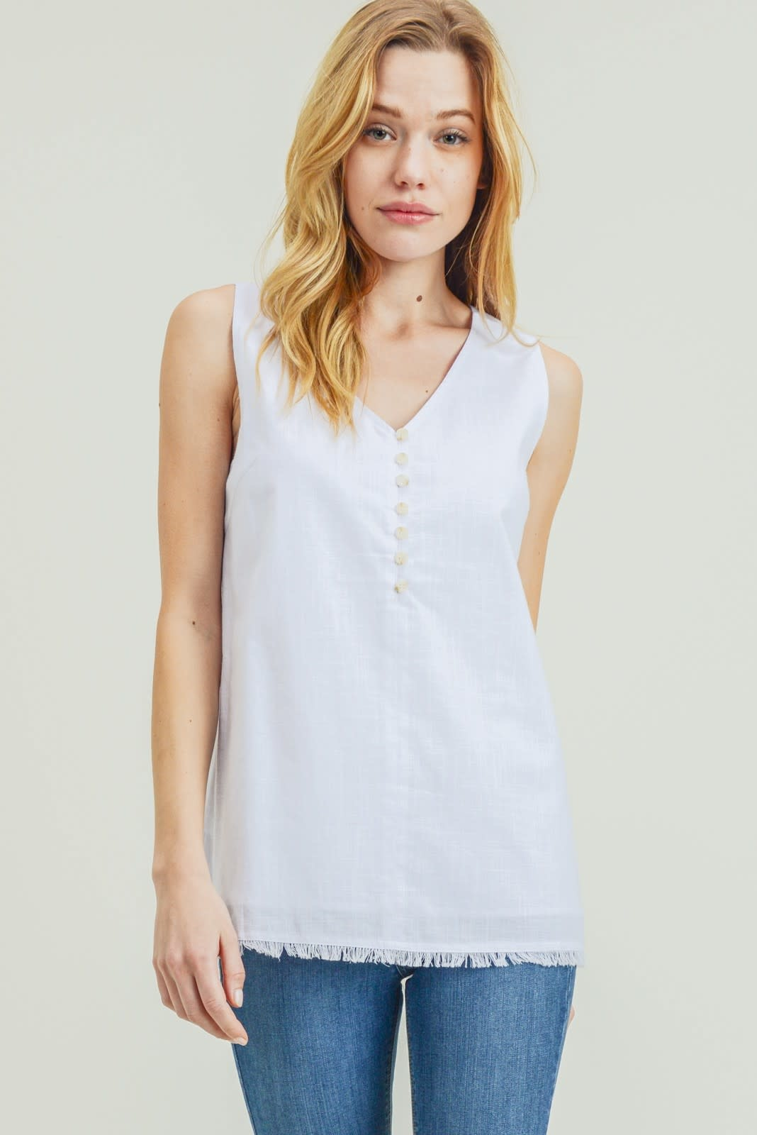 Washed Cotton Linen Button Front Tank Top