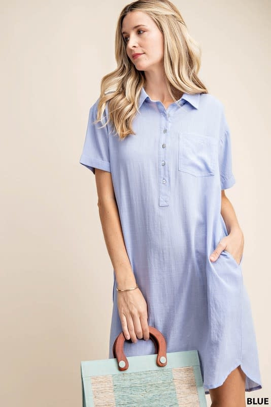 Short Rolled Up Sleeves Shift Dress