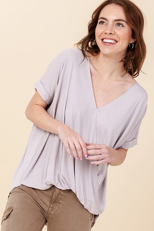 Surplice Front Top w/ Roll Up Sleeve