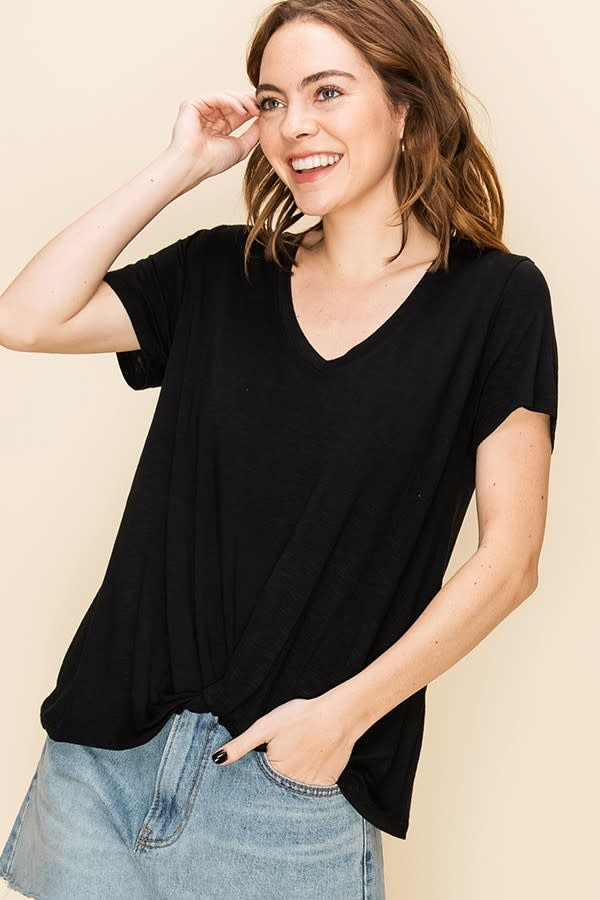 V Neck Knot Front SS Top