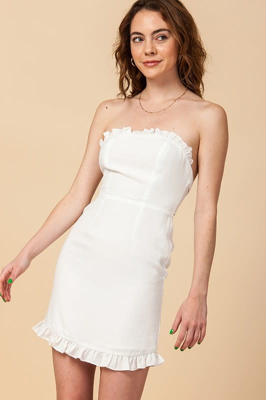 Tube Dress w/ Ruffle Trim & Tie Back Detail