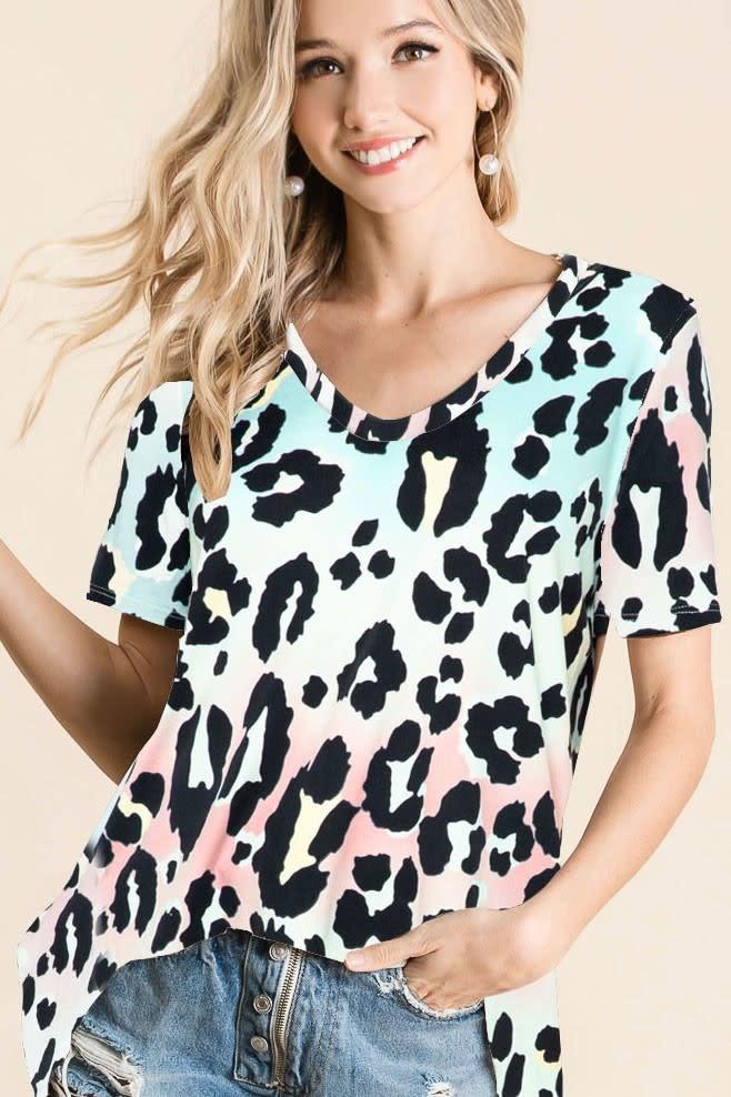 Gradation Leopard Print Deep U Neck Soft Top