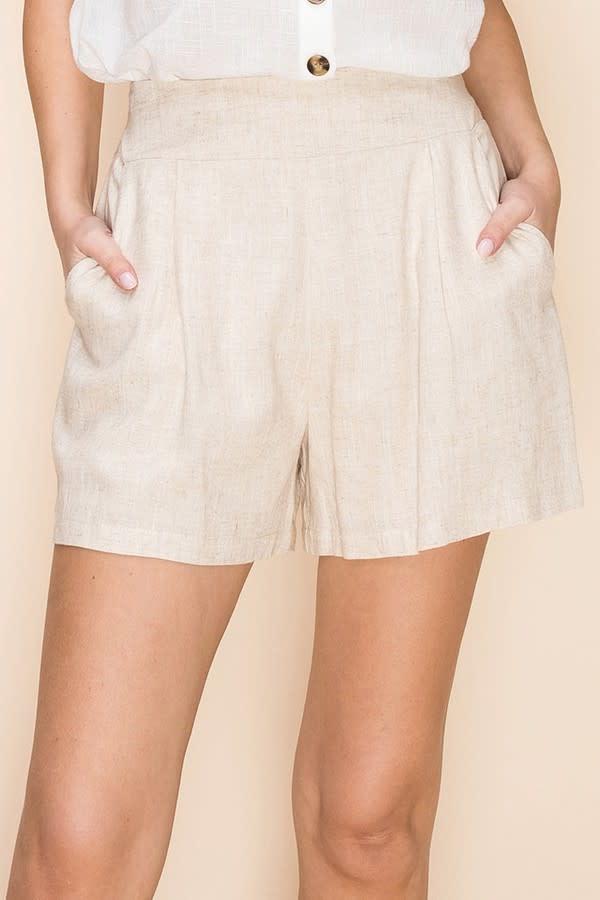 Structured Mini Shorts w/ Elastic Back