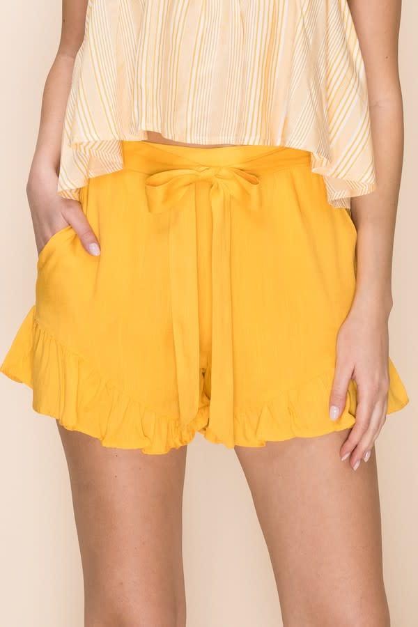 Waist Tie Flutter Shorts