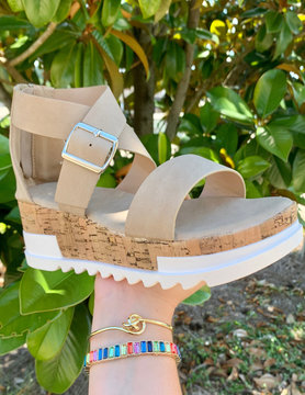Savannah Wedge Sandals - Taupe