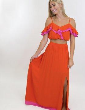 Adjustable Strap Off Shoulder Ruffle Top & Maxi Skirt w/ Side Slit Set