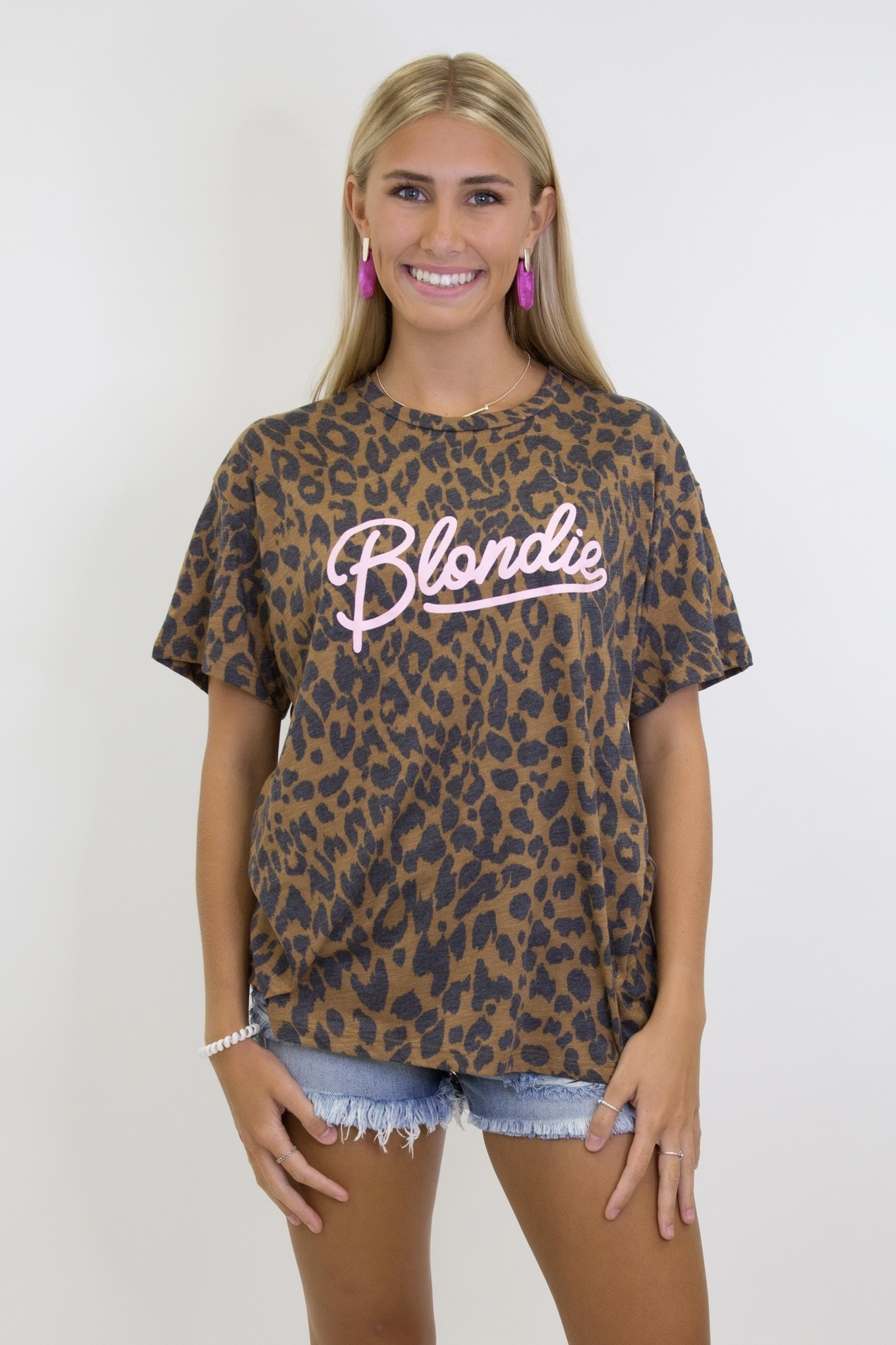 Blondie Graphic Leopard Tee in Brown