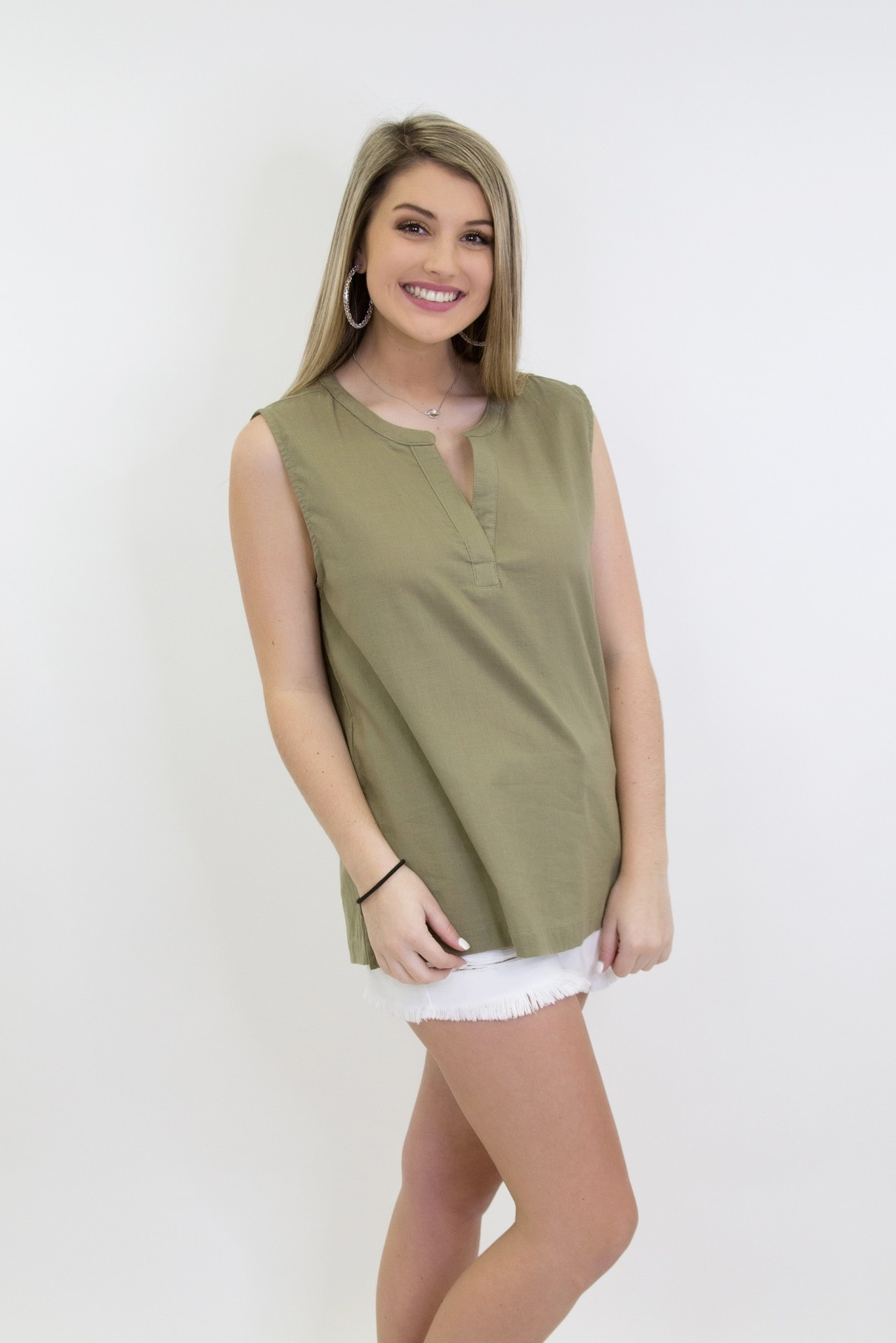Washed Linen Henley Front Neck Sleeveless Top