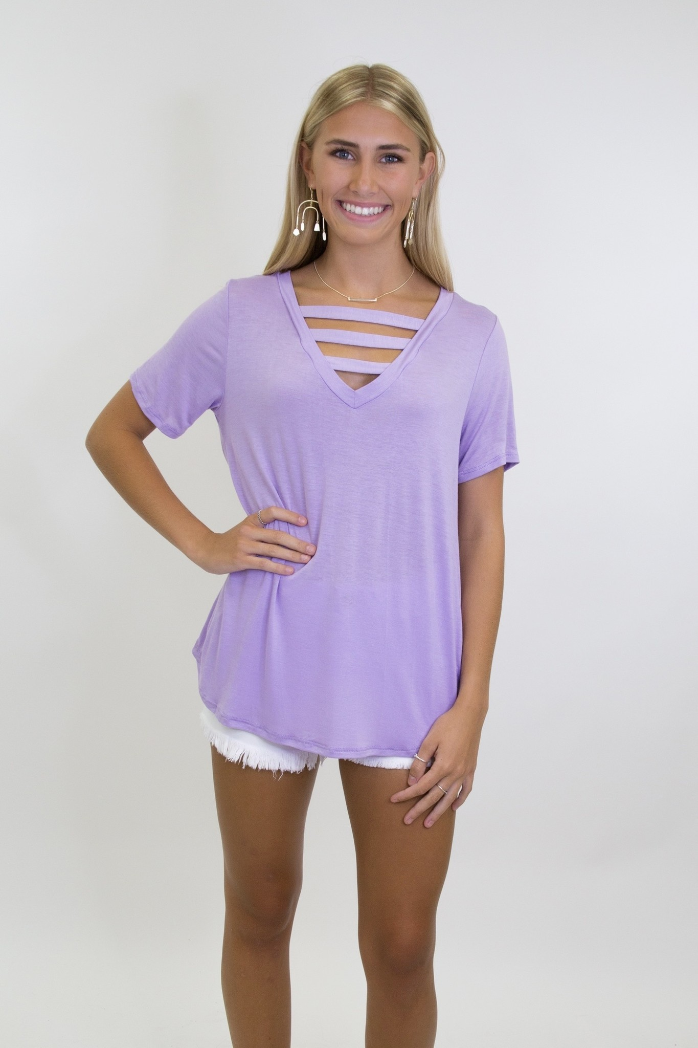 Jersey Knit V Neck Top w/ Strapped Front Neck Detail