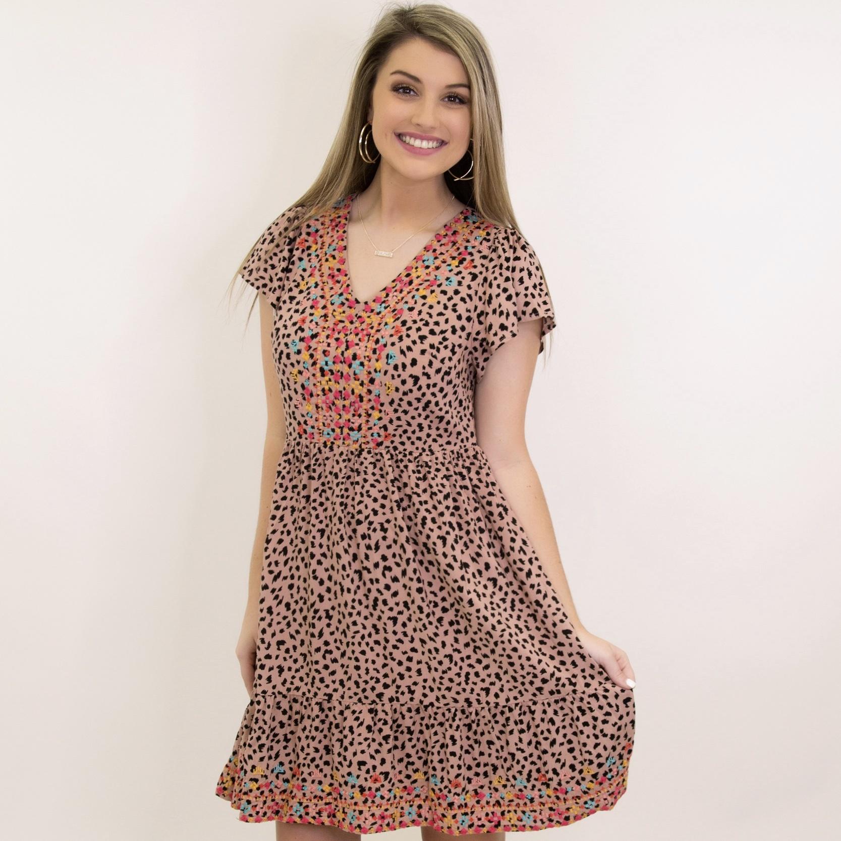 Leopard Print Babydoll Flutter SS Dress