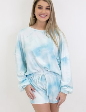 Tie Dye Lounge Set in Light Blue