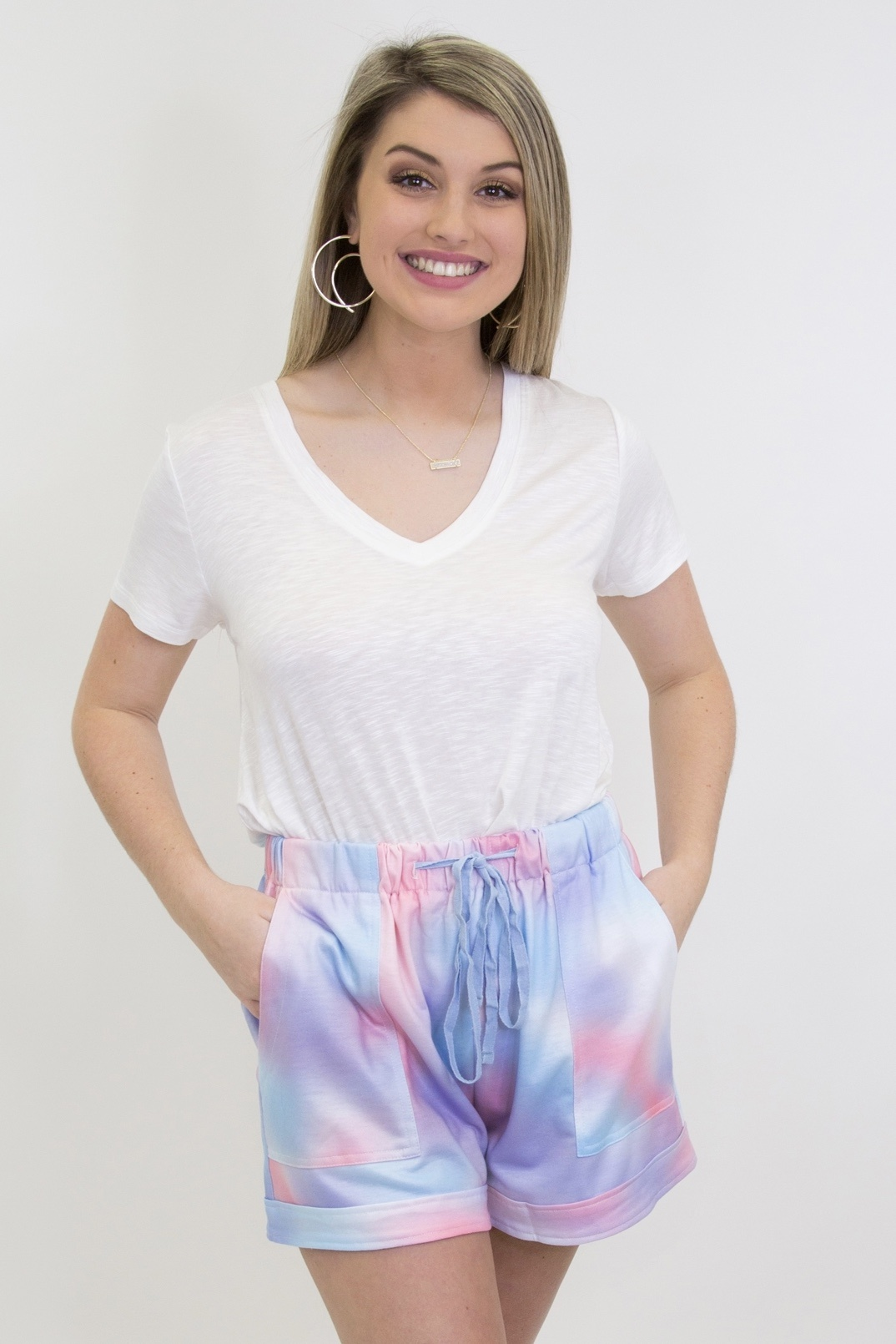Drawstring Casual Pocketed Shorts in Tie Dye