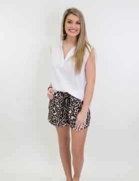 Drawstring Casual Pocketed Shorts in Leopard