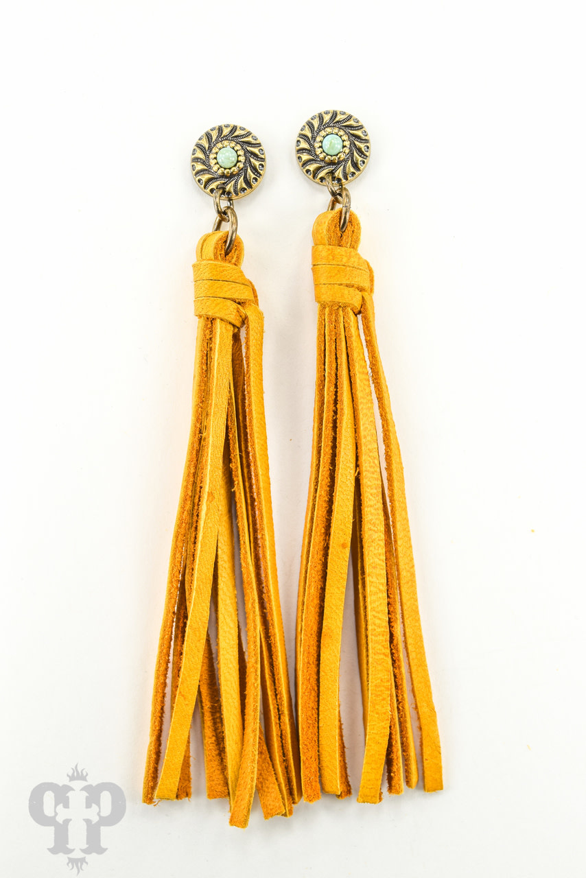 Bronze Post w/ Turquoise Cabochon & Mustard Tassel