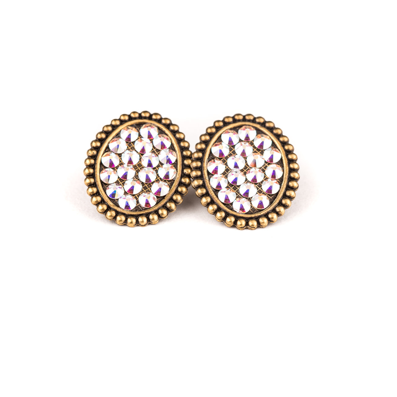 Bronze Mini Oval Post Earring w/ Crystals