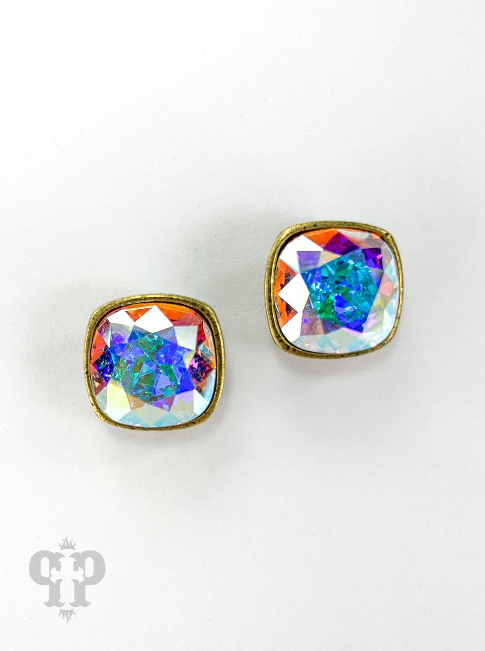 Cushion Cut Crystal Bronze Post Earrings