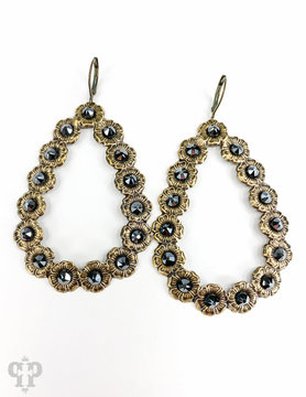Bronze Open Teardrop Earring w/ Black Crystals
