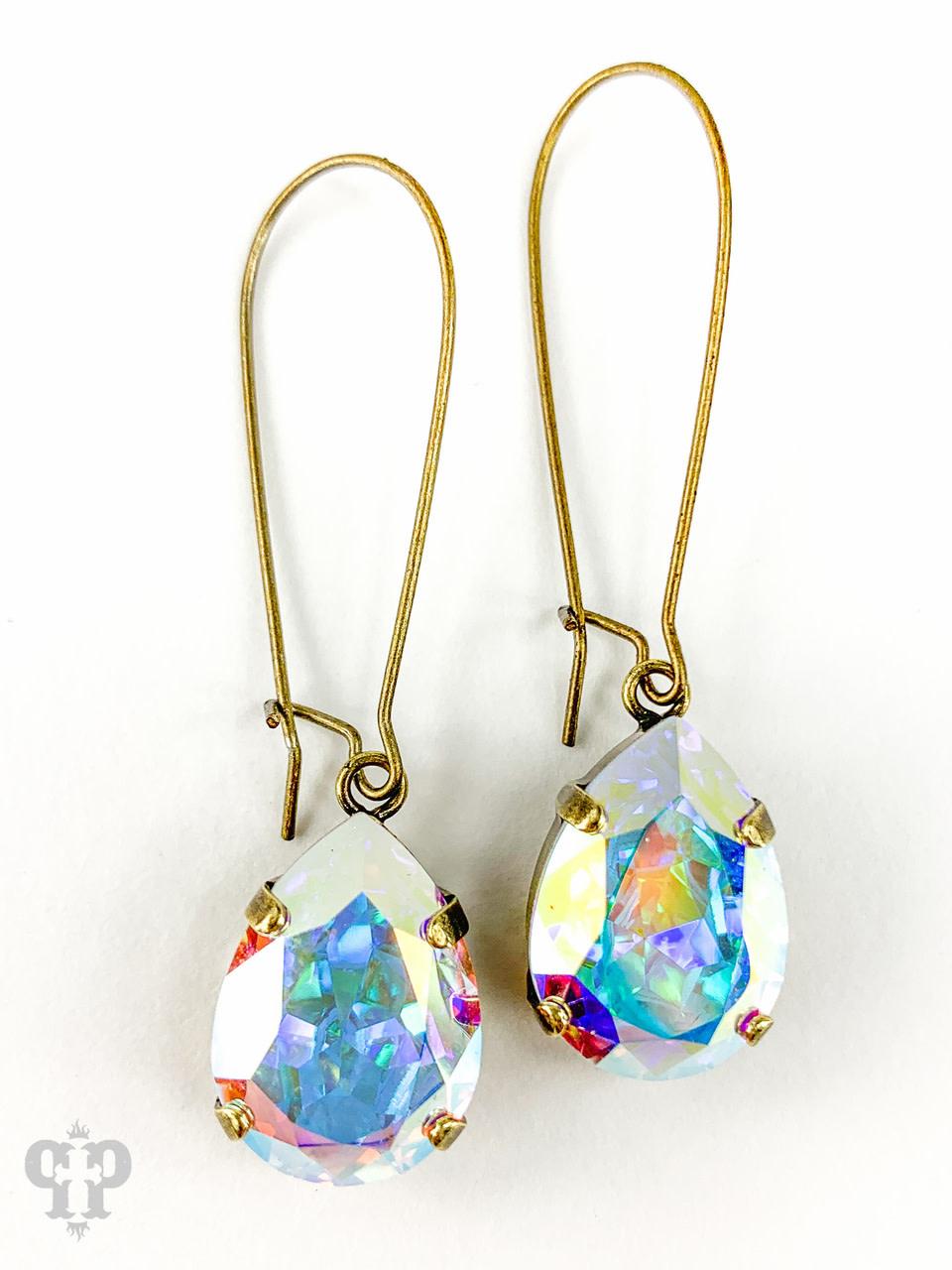 Pear Teardrop Crystal w/ Bronze Wire Earring
