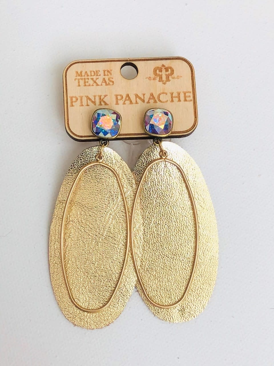 Bronze Cushion Cut Post w/ Gold Leather Oval Earring