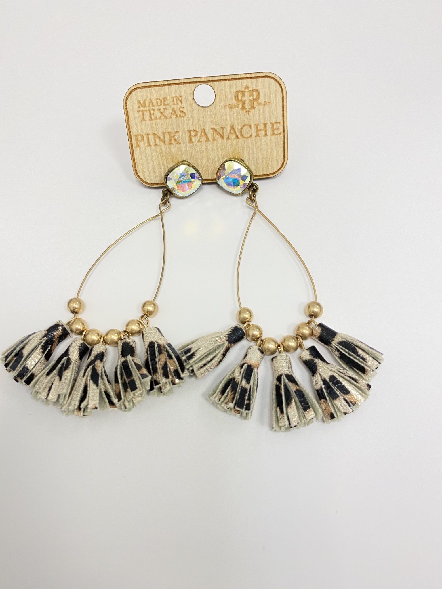 Bronze Cushion Cut White Leopard Tassel Earring