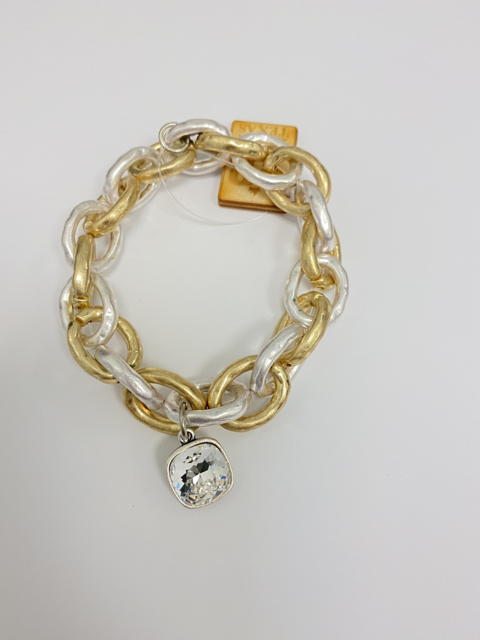 Large Two Tone Link Stretch Bracelet w/ Clear Pendant