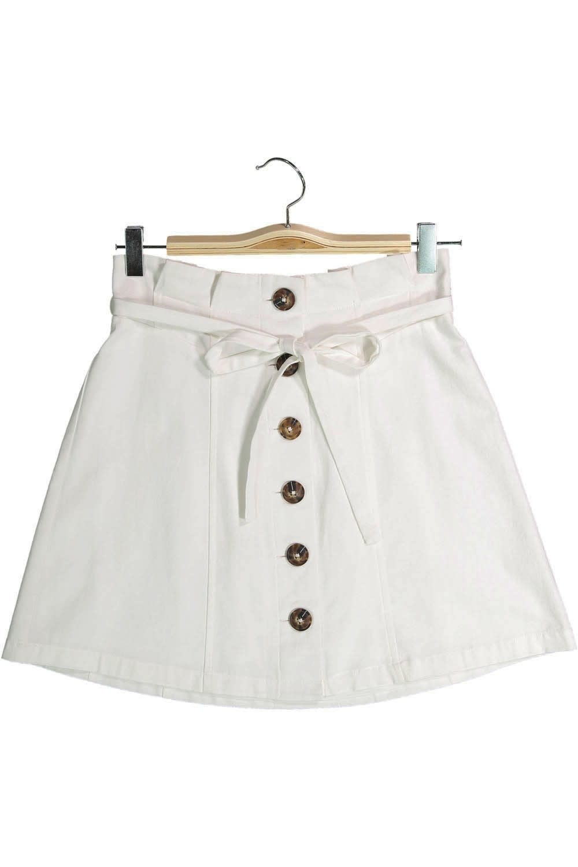 Button Down Cotton Skirt