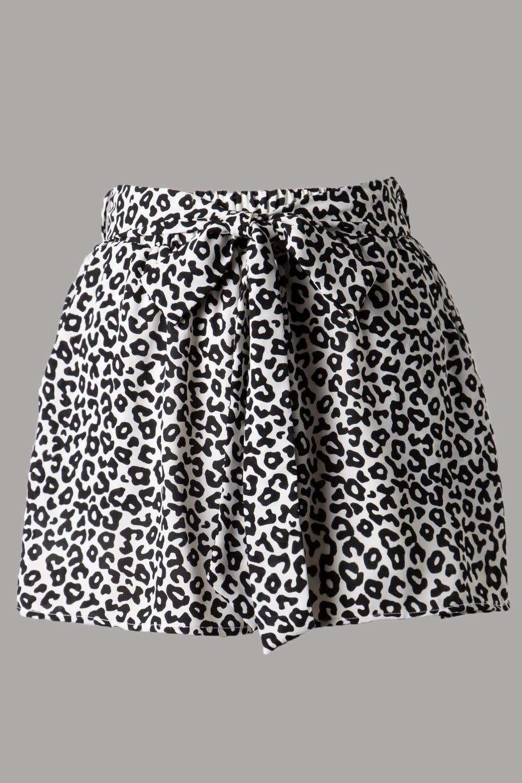 High Rise Elastic Waist Leopard Shorts w/ Belt