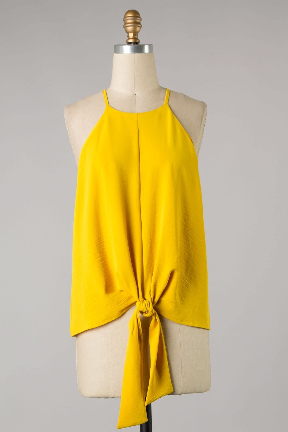 Sleeveless Front TIe Solid Woven Tank Top